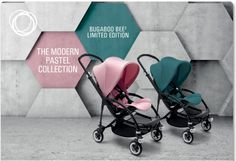 Making its debut on the city streets in July 2016 is The Modern Pastel Collection, a limited-edition complete Bugaboo Bee³ stroller, available in Soft Pink or Petrol Blue. We've updated your favourite pastel hues for 2016. Cool, eclectic and a little rough around the edges, The Modern Pastel Collection Bugaboo Bee³ is perfect for urban parents who live life on the fly. The black chassis and black leather-look handlebar complete the stroller's bold look