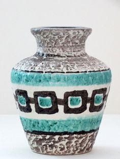Bay Keramik Mid Century White Black Aqua Handpainted West