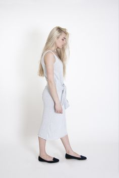 Sleeve Waist Tie Dress | Arctic Ice This #cotton dress is made from 100% cotton threads and lots of #love. It is perfect for a #casual #office #outfit or a comfortable street-style look. It has waist long sleeves that serve as a tying #belt. It is very unusual and looks very #chic. Though it is #knitted, its composition makes it a must-wear during hot #summers, because cotton lets the skin breath.