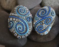 Rock Swirls set of 2, handcrafted, painted rock stone, rock stone art, sea stone