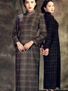 Women's Woolen Ankle-length Long-sleeve Winter Thicken Cheongsam Dress - USD $ 206.00