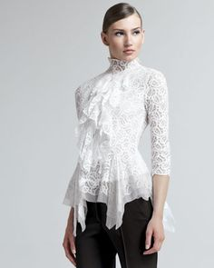 Lace Handkerchief Blouse by Oscar de la Renta at Bergdorf Goodman.