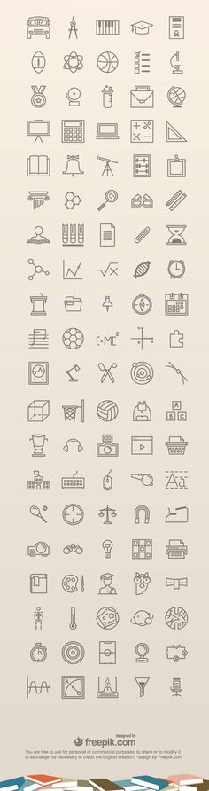 A set of 100 free education icons. The icons are really nice and clean and can be used on education related websites, mobile apps or graphics. They come in - posted under Icons tagged with: Education, Free, Graphic Design, Icon, Outline, PNG, Resource, SVG, Vector by Fribly Editorial