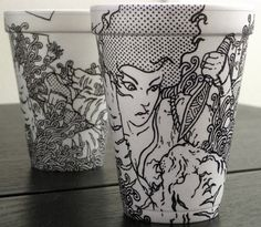 "15 Hot Cups of Art: Magic Markers on Coffee-Cup 'Canvas'   //////   this isn't really ""doodling,"" but the canvas--a paper or foam cup--is definitely a doodling surface!"