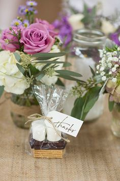 S'mores thank you |Lavender Infused Romantic Olde Dobbin Station Texas Wedding | Photograph by The Freckled Key  http://storyboardwedding.com/lavender-romantic-olde-dobbin-station-texas-wedding/