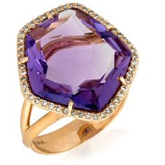 18k Rose Gold Amethyst Ring With Diamonds ($2,600) ❤ liked on Polyvore featuring jewelry, rings, pink gold diamond rings, purple jewelry, rose gold diamond ring, diamond rings and rose gold rings
