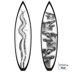 Surfboard design Classic Animals 3  Motivserie Classic Animals  Motive: Insect oder Dog Darstellung aus 19th Jahrundert/Holzschnitt.  FleeceOn™ Grafikvlies/Cloth (Vlies läuft übers geamte Board)