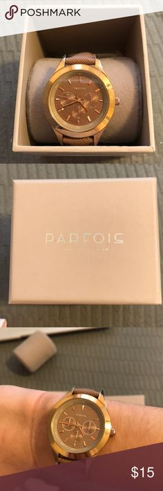 Parfois watch Bought in Spain. Excellent condition except for small discoloration on band as pictured. Polyurethane band. Comes with original box and tags (no longer attached) parfois Accessories Watches