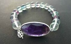 Faceted Amethyst Fluorite Stretch Bracelet by PlanetEarthHandmade