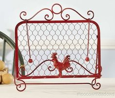 New RED ROOSTER COOKBOOK STAND Cook Book Holder COUNTRY VINTAGE Kitchen Decor