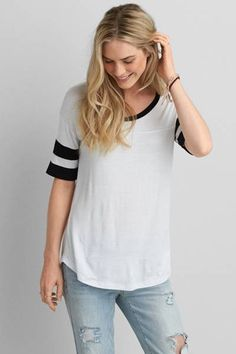 AEO Football Jegging T-Shirt  by AEO | Up your style game and balance out all your skinny fits with this jegging T.  Shop the AEO Football Jegging T-Shirt  and check out more at AE.com.