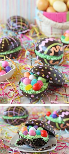 Brownie-Filled Chocolate Easter Eggs - brownies hidden in a beautiful chocolate egg shell! | From OhNuts.com