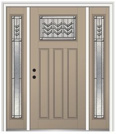 Shown Is A Prairie Bevel Craftsman 3 Panel Entry Door Painted Sandal With  Sidelites.