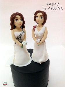 MUÑECAS DE NOVIA BODA LESBIANA HADAS DE AZUCAR GUADALAJARA / LESBIANS BRIDES FONDANT WEDDING TOPPERS