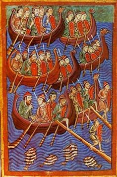 In 793 Vikings raid the abbey at Lindisfarne commonly accepted as the beginning of Norse activity in the British Isles. Off all Viking and European themed today such as the King is Dead. Medieval Manuscript, Medieval Art, Illuminated Manuscript, Art Viking, Viking Life, Norway Viking, Old Norse, Norse Vikings, Ancient Vikings