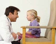 Ch. 6 involves doctor patient communication also involving families. Families often have a doctor that they see throughout a child's life. This doctor is communicating with the child by getting down on her level to make her feel comfortable. He's establishing some trust.