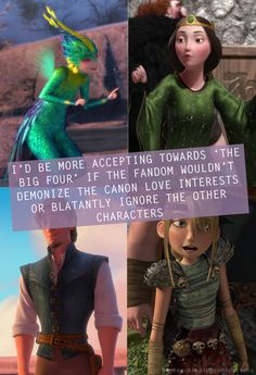 I love the big four, but I wouldn't say I ship them. (because I ship Toothfairy/Jack, Flynn/Rapunzel and Hiccup/Astrid) Disney Stuff, Disney Love, Disney And Dreamworks, Disney Pixar, My Legacy, Frozen And Tangled, Hiccup And Astrid, Disney Crossovers, Rise Of The Guardians