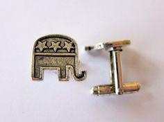 silver republican elephant cufflinks by classiccufflinks on Etsy, $39.99