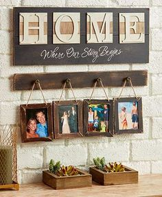 This Where Our Story Begins Frame Set allows you to create a custom display featuring those most near and dear. The home sign has a nicely textured, e Funky Home Decor, Unique Home Decor, Diy Home Decor, Room Decor, Rustic Decor, Farmhouse Decor, Rustic Entryway, Country Decor, Design Your Own Home