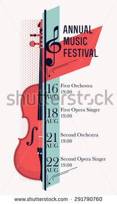 Beautiful modern classical music festival poster or flyer template. Ideal for local events announcement and promotions - stock vector