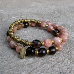 Joy and positivity, genuine faceted sunstone and smokey quartz 27 bead wrap mala bracelet. #loveprayjewelry