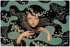 """Deep Waters  oil, acrylic, and graphite on wood panel 36""""x24""""  Jonathan Levine Gallery """"Midnight Reverie"""" NY  2012"""