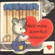 Valentine Card Vintage Two Little Mice We'd Make a perfect