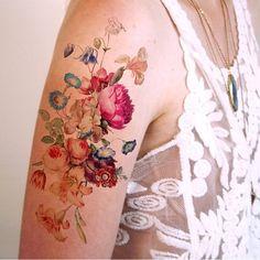Imagem de tattoo, flowers, and art