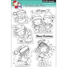 """Christmas With Mimi Penny Black Clear Stamps 5""""X6.5"""" Sheet PB30079"""