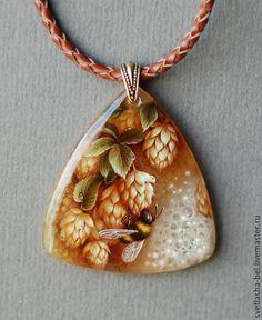Купить Мохнатый Шмель... - разноцветный, лаковая миниатюра, кулон, живопись маслом, живопись на камне
