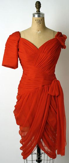 "Red silk chiffon cocktail dress by Christian Lacroix for House of Patou, French, 1985. Label: ""Jean Patou/Paris"""