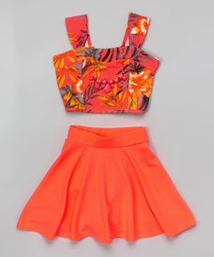 Loving this Just Kids Neon Coral Floral Crop Top Set - Girls on #zulily! #zulilyfinds