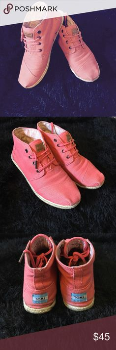 Coral Sneakers Coral TOMS High tops. Used but in good condition. Original shoe box included TOMS Shoes Sneakers