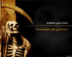 Halloween Backgrounds for PowerPoint: Free Grim Reaper PowerPoint Template is a Spookyscary skeleton PowerPoint design that you can download for #Halloween #presentations in Microsoft PowerPoint 2010 and #2013 #powerpoint #backgrounds