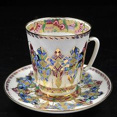 Exclusive Russian Imperial Lomonosov Porcelain Tea Cup and Saucer Arabesque Gold
