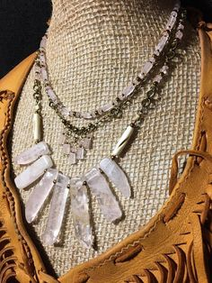 Handmade Tribal Genuine Rose Quartz Stone bib collar Spike Necklace jewelry #Handmade #Bib