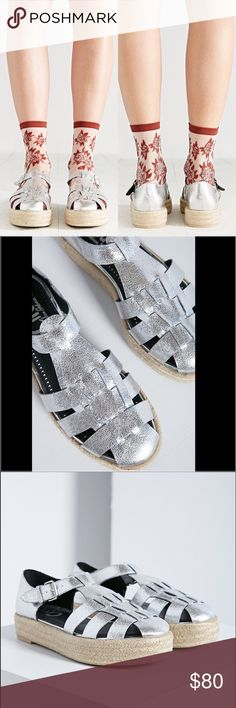 Circus Sam Edelman Silver Espadrille Sandal Circus by Sam Edelman Women's Silver Grant Huarache Espadrille Platform Sandal. Caged style toe with adjustable buckle. Espadrille base and never worn. Circus by Sam Edelman Shoes Espadrilles