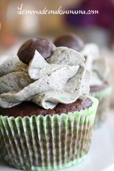 Chocolate Mint Oreo Cupcakes.