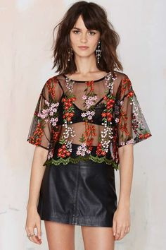 Glamorous Flower Powers Embroidered Top