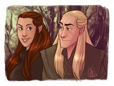 --- The Lord Of The Rings - The Hobbit --- Legolas Tauriel --- A little cute drawing with Taury and Leggy !^^ LOTR - Little smile Legolas And Tauriel, Thranduil, Mirkwood Elves, Lord Of The Rings, Lotr, The Hobbit, Cute Drawings, Disney Characters, Fictional Characters