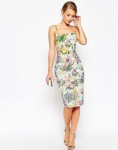 ASOS SALON Embellished Meadow Crop Top Floral Midi Pencil Dress UK 12/EU 40/US 8