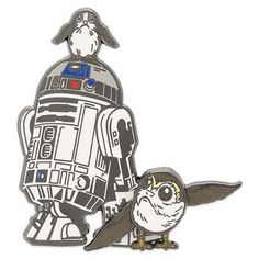 Disney & Porgs Pin - Star Wars: The Last Jedi This pin is so cute and cool-- I love the way it blends the icons of the older Star Wars series with that of the new series. Disney Fantasy, Fantasy Movies, Disney Trading Pins, Disney Pins, Star Wars Fan Art, Star Trek, Last Jedi, Disney Merchandise, Geek Culture