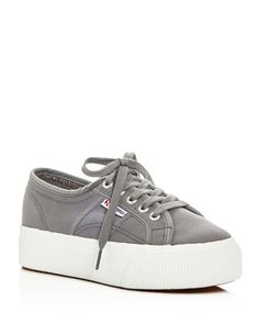 Superga Lace Up Platform Sneakers | Canvas upper, canvas lining, rubber  sole | Imported