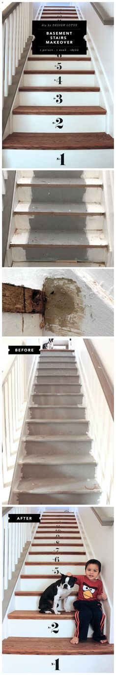 DIY Numbered Basement Stairs Remodel - come see how I took it from gross carpet to this in under a week. =) #retrotread @Lowe's