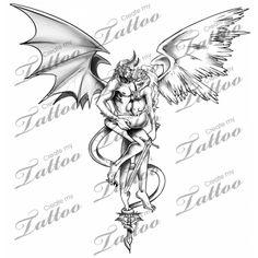 good vs evil tattoos | Good Vs Evil Connected Createmytattoocom