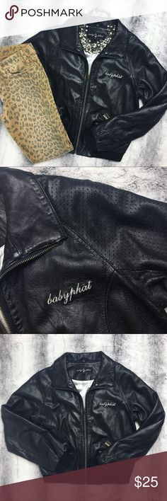 Baby Phat - Black Leather Jacket Selling this amazing black genuine leather jacket by Baby Phat. Throw it back, old school with this jacket. It's a great staple piece to have in your closet. Worn a good amount of times. Still in great condition overall!! 💋 Says large, fits like a medium. Baby Phat Jackets & Coats