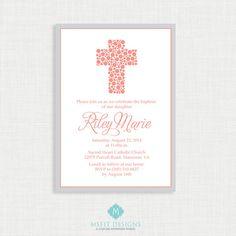 Polkadot Baptism Invitation  Baby Dedication First by MsfitDesigns, $20.00