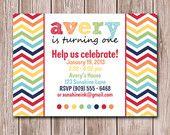 Rainbow Chevron Birthday Party Invitation Printable 5x7. $12.00, via Etsy.