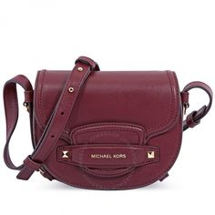 af42910061ba Michael Kors Cary Small Leather Saddle Bag- Oxblood