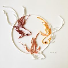 I like white on white, yet I like colors too. Couldn't make up my mind. #quilling #paper #art #paperquilling #whiteonwhite #goldfish #design #paperart #金魚 on #canson